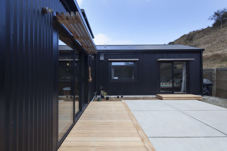 Little Black Barn House   Black Corrugated Iron, Decking, NZ Architecture, First Home, Family Home, First House Inspiration, Outdoor Ideas, Outdoor Living Space, Patio Area   Read The Full Story Here: http://buildme.co.nz/nz-homes/little-black-barn-home-queenstown/   #BuildingNZ