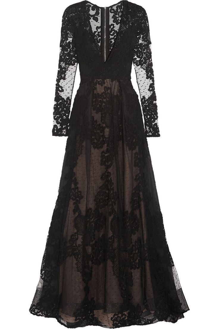 Elie Saab|Tulle and lace gown|NET-A-PORTER.COM