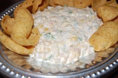 Corn Dip  Aunt Sue Sue  2 Cans Mexi or Fiesta Corn, Drained  1 cup sour cream  1 cup mayonnaise  2 cups shredded cheddar cheese  1/2 cup chopped green onions  1 can chopped green chilies  1/2 tsp salt  1/4 tsp pepper  1/8 tsp garlic powder  1/2 tsp cumin  2-3 jalapenos to taste  Mix together and chill.  Serve with Frito's, tortilla chips or wheat thins.