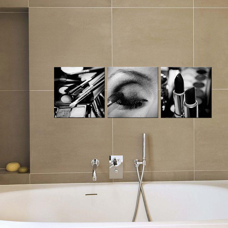 Bathroom Decor/canvas art/black and white makeup photography/Bathroom Art/set of 3 prints canvas print giclee/Bath large wall art decor by PHOTOFORWALL on Etsy