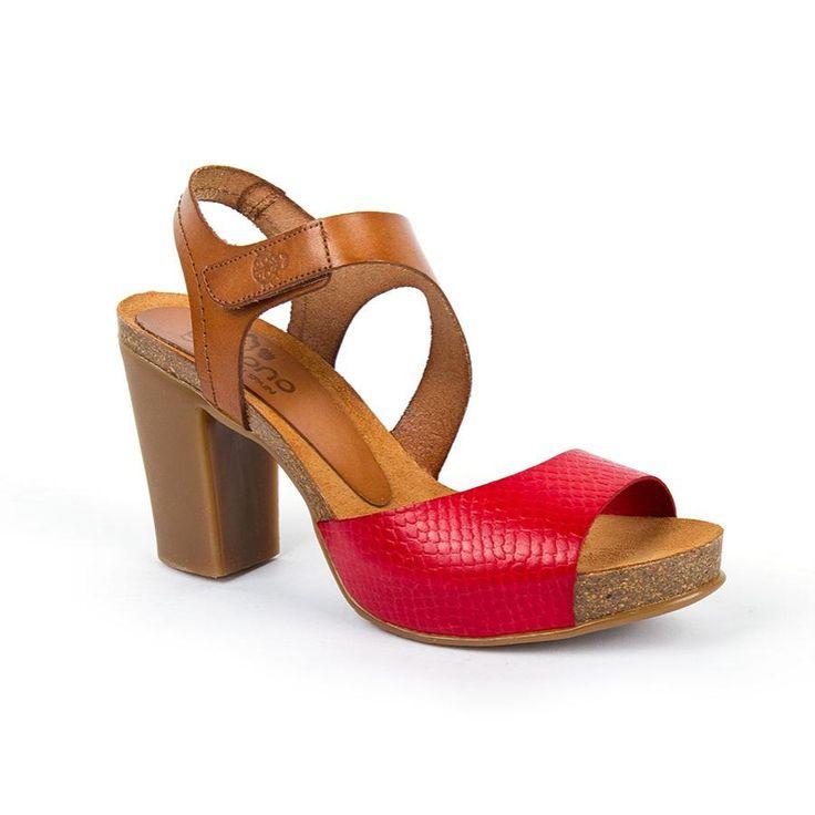 16Gales005RojoNuez - Sandal bio Gales-005 Red/Brown Leather