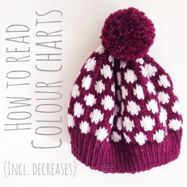 How to Read Colour Charts in knitting patterns - tutorial by Jessica Joy.
