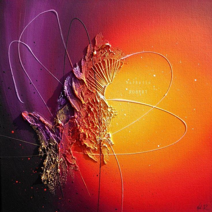 Karma - tableau abstrait contemporain peinture acrylique en relief noir prune…                                                                                                                                                                                 Plus