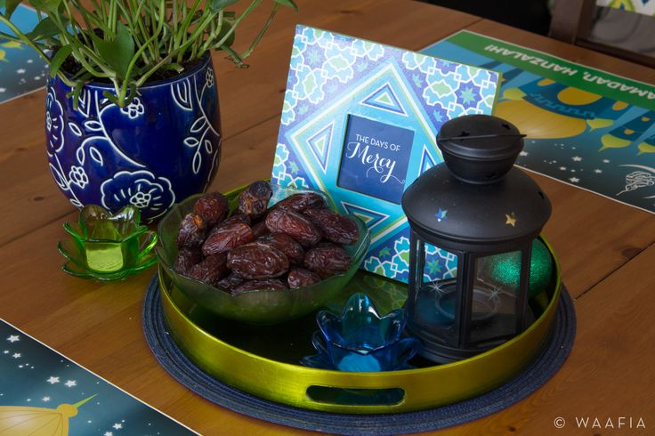 Ramadan table setting with dates