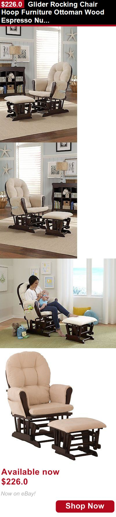 Rockers Gliders: Glider Rocking Chair Hoop Furniture Ottoman Wood Espresso Nursery Baby Cushion BUY IT NOW ONLY: $226.0
