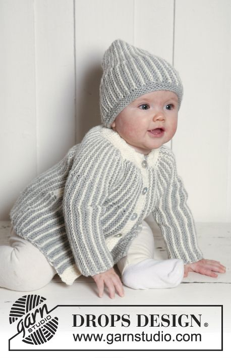 Magnus Set / DROPS Extra 0-639 - Settet består av: Rillestrikket DROPS jakke og lue, strikket sidelengs i Merino Extra Fine.