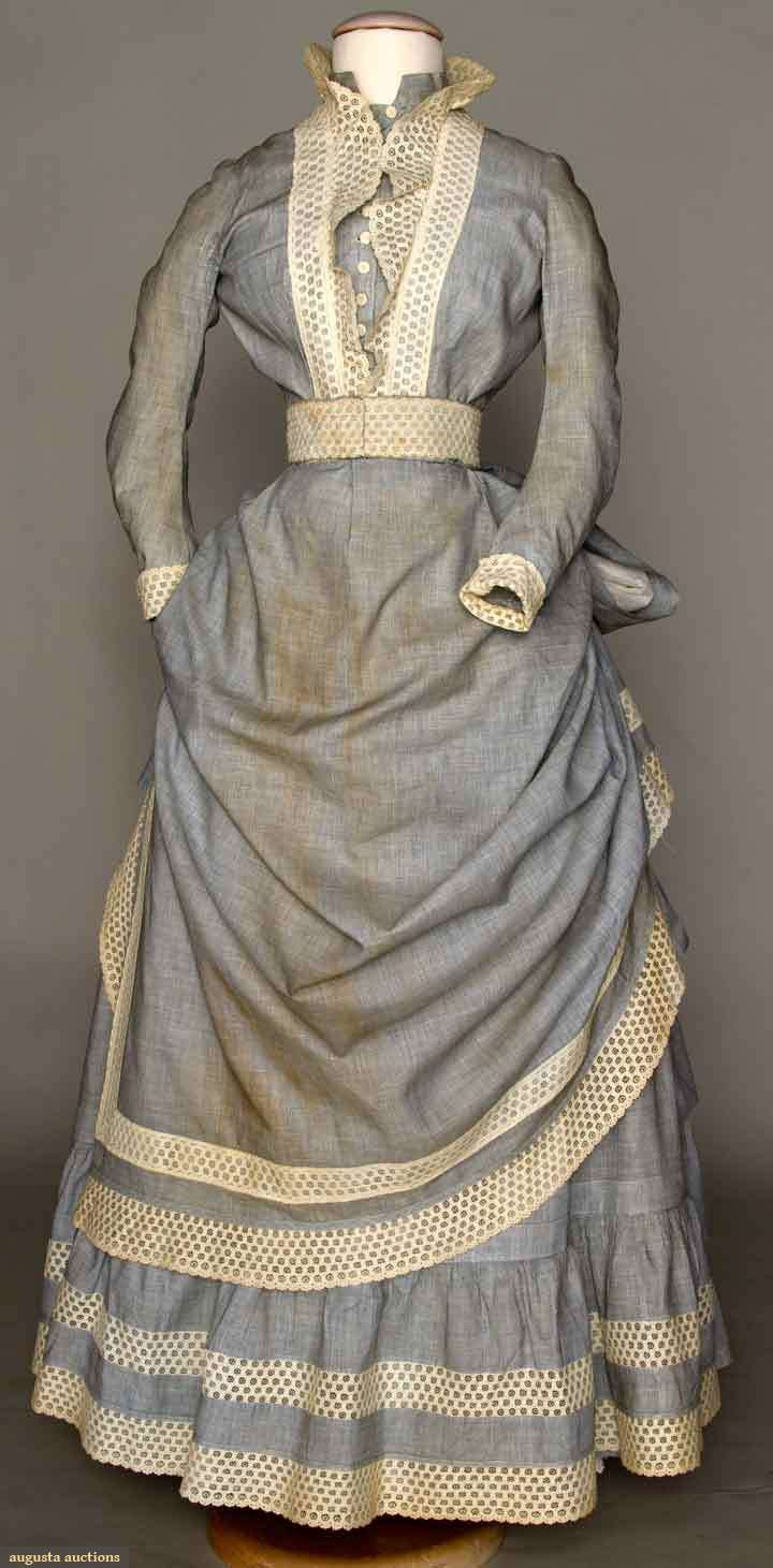 White eyelet apron - Pale Blue Cotton Ensemble Front Ca 1880 3 Piece Skirt