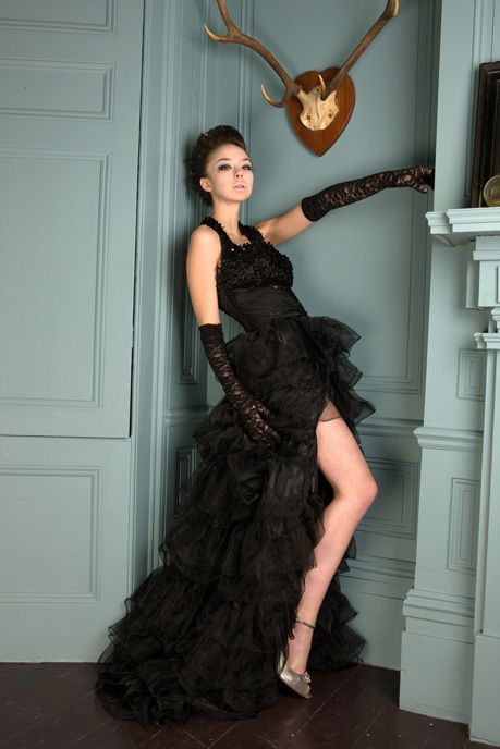 Black Bridal Gown With Ruffled Short Skirt And Train
