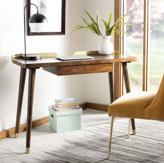 10 Midcentury Modern Desks That Double As Home Decor Hunker Chic Desk Walnut Desks Home Office Furniture