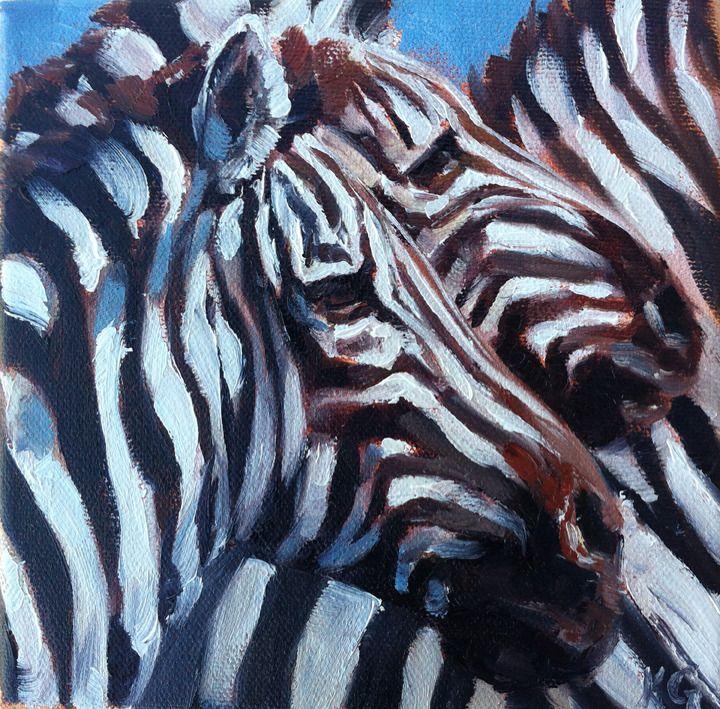 """Herd of Stripes"" by Kindrie Grove. #zebra #zebras #animals #wildlifeart #painting #impressionism #art #artwork #paintings #animalart"
