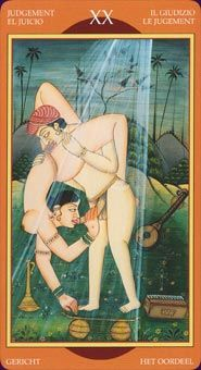 Example card from the Kamasutra Tarot. DISCOVER MORE: http://www.tarotacademy.org/kamasutra-tarot-english-and-spanish-edition/