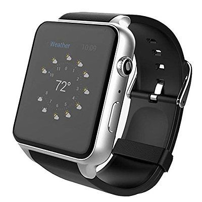 AWOW Smartwatches Bluetooth Heart Rate Hidden Camera Watch Mobile Phone Silver