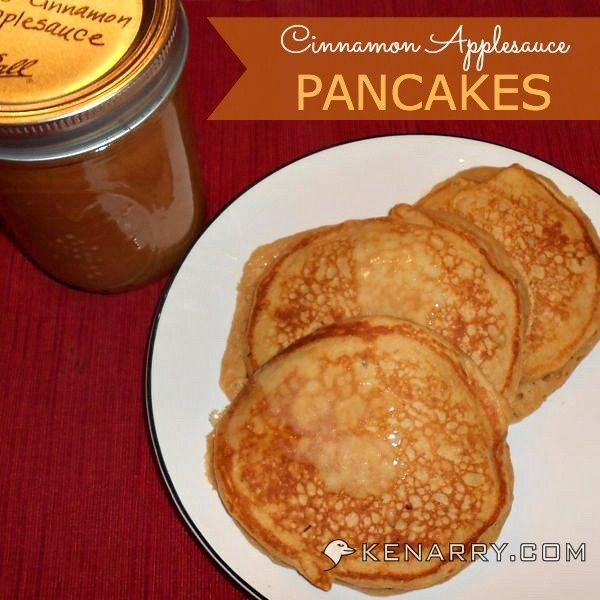 Cinnamon Applesauce Pancakes: Whole Wheat Breakfast Treat - This recipe for Cinnamon Applesauce Pancakes replaces oil with applesauce and adds in whole wheat pancake mix and egg substitute for a nutritious breakfast. - Kenarry.com