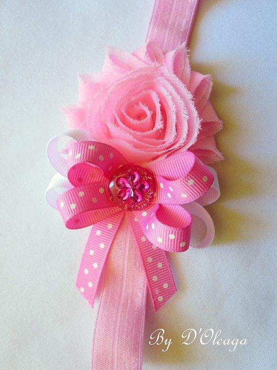 Pink Baby Headband- Handmade Accessories-Shabby Chic Headband-Baby Girls- Girls Headband-Elastic Headband-Stretch Headband-Made to Order!!!!