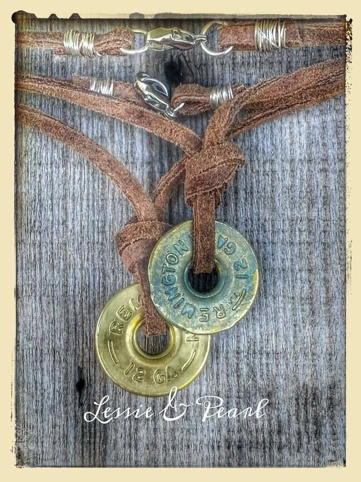 12g SHOTGUN SHELL LEATHER NECKLACE in polished brass or antiqued green patina