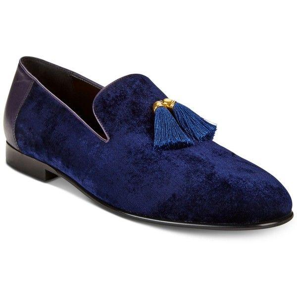Tallia Men's Eduardo Velvet Tassel Loafers ($112) ❤ liked on Polyvore featuring men's fashion, men's shoes, men's loafers, navy, mens loafers, mens loafer shoes, mens tassel loafer shoes, mens tassle loafers and mens tassel shoes