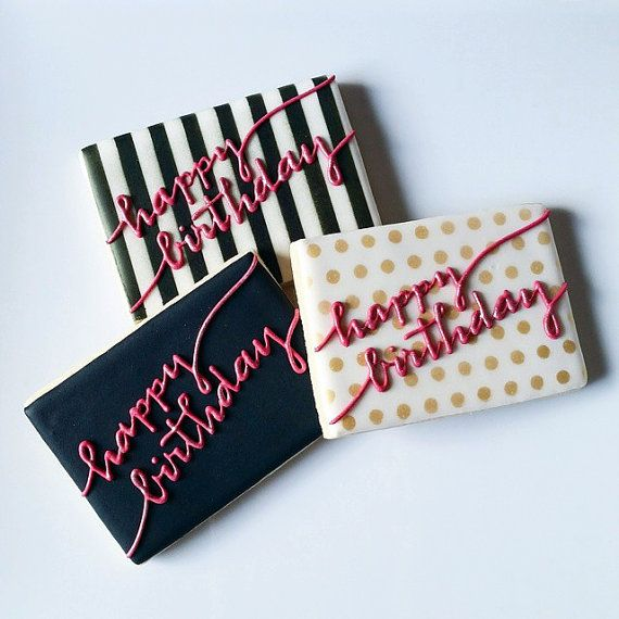 Kate Spade themed happy birthday cookies by MyDolceBakery. Etsy listing at https://www.etsy.com/listing/232659576/black-white-gold-hot-pink-kate-spade