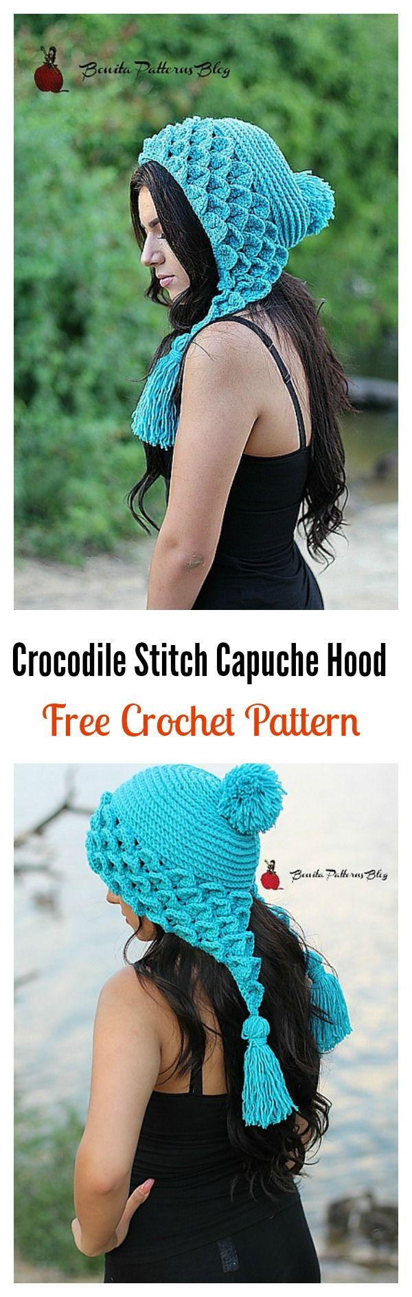 Crochet Crocodile Stitch Capuche Hood Free Pattern