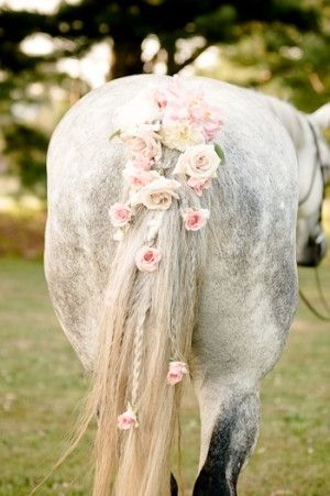 Flowers for Horse's Mane and Tail | Western Wedding Flowers | Country Wedding Flowers for  the Horse......I like this and think this would look great on back of a hat