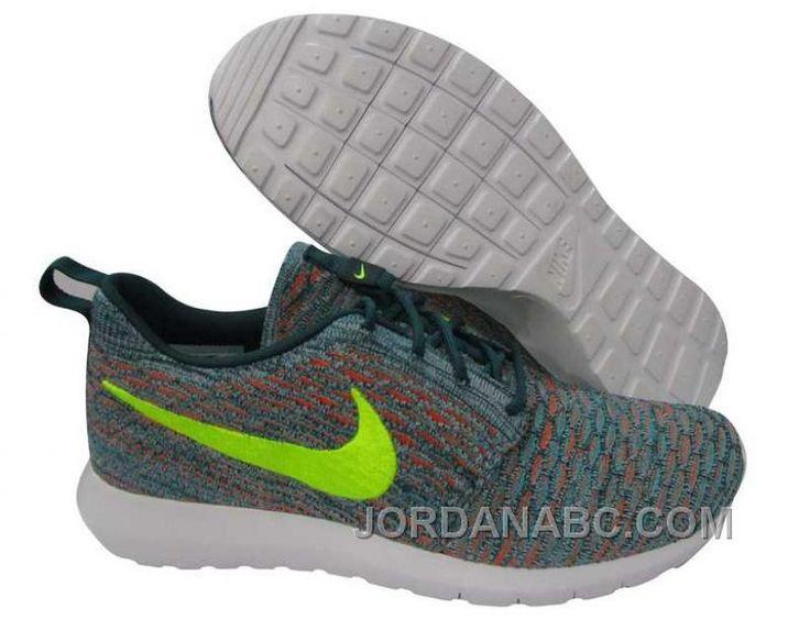 Nike Roshe Run Flyknit Mens Green Dark Orange Yellow Shoes