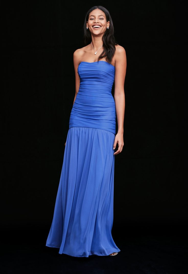 Trending For blue bridesmaid dresses that stand out choose a saturated shade like Morning Glory Find your perfect wedding palette at David us Bridal