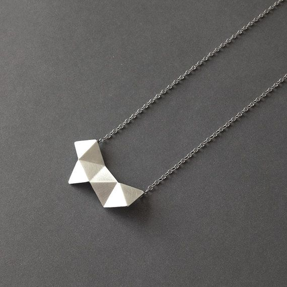 Geometric Chain Necklace, Sterling Silver Chain Necklace, Geometric Charm Necklace, Hexagon Pendant Necklace, Minimalist Necklace