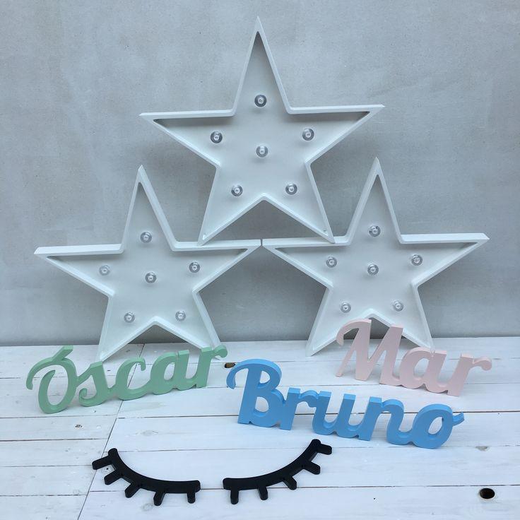 Nombres personalizados de madera, ojitos dormilones de madera y estrellas luminosas de madera - Minimoi