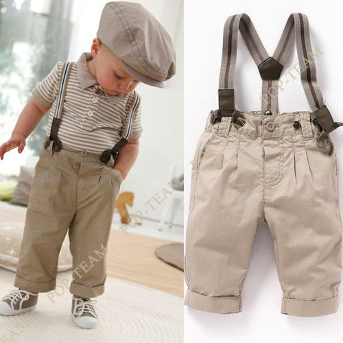 Boys Baby Clothes 0 5Y Toddler Set Gentleman 2pcs Outfit Top Bib Pants TY1 | eBay