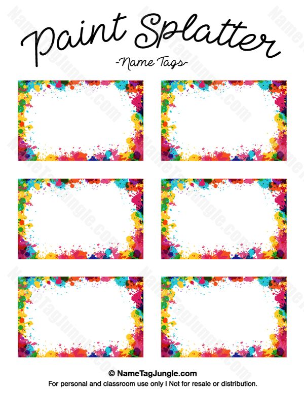 free printable paint splatter name tags the template can also be used for creating items