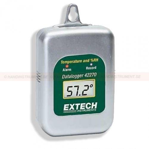 http://handinstrument.se/termometer-r1288/datalogger-for-temperatur-och-luftfuktighet-53-42270-r1455  Datalogger för temperatur och luftfuktighet  Brett mätområde: -40 till 85 ° C  Luftfuktighet: 0 till 100% RH  Registrerar upp till 16.000 mätvärden (8.000 avläsningar för varje parameter)  Används till kyl-container, kyltransportbilar, frysar mm för att övervaka temperatur  Loggar data för dagar, veckor eller månader - upp till 1 års batteritid  Programmerbar samplingsfrekvens...