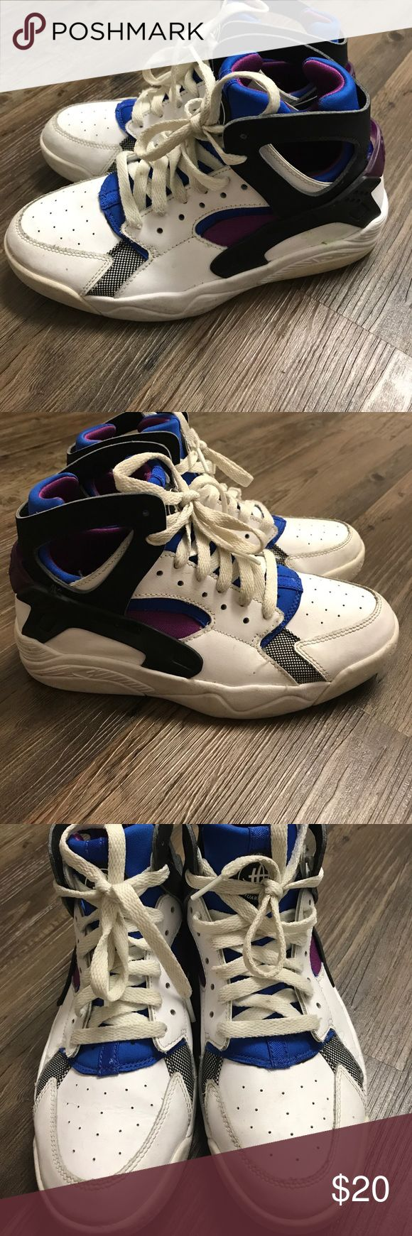 NIKE!!! Purple,Blue,White huaraches!! Pretty good condition! Has some signs of wear!!! Have any questions just ask!! 100% satisfaction guaranteed!! Nike Shoes Sneakers