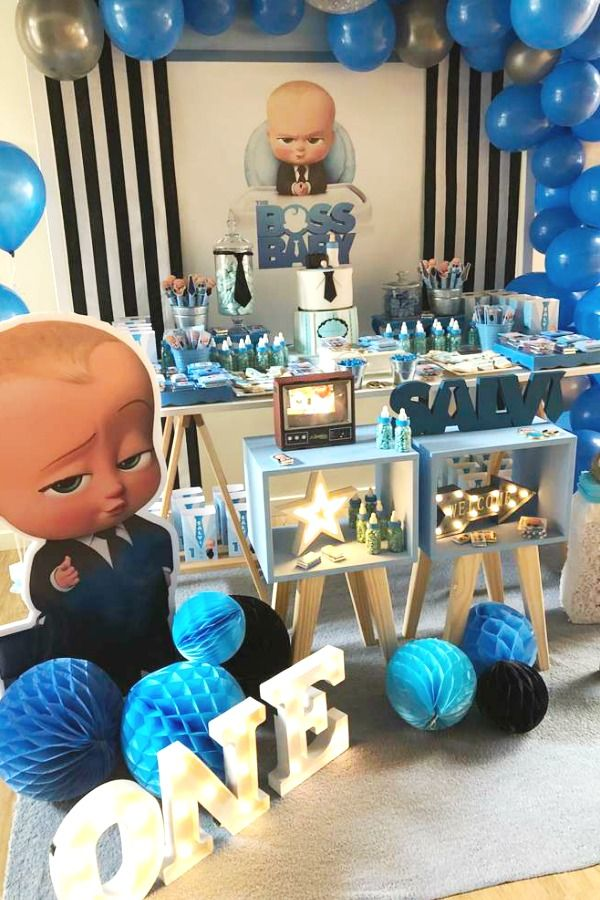 The Movie And Tv Show Boss Baby Is So Much Fun And The Perfect Theme For A Boy S 1s Baby Birthday Party Boy Baby Boy Birthday Themes Baby Birthday Party Theme