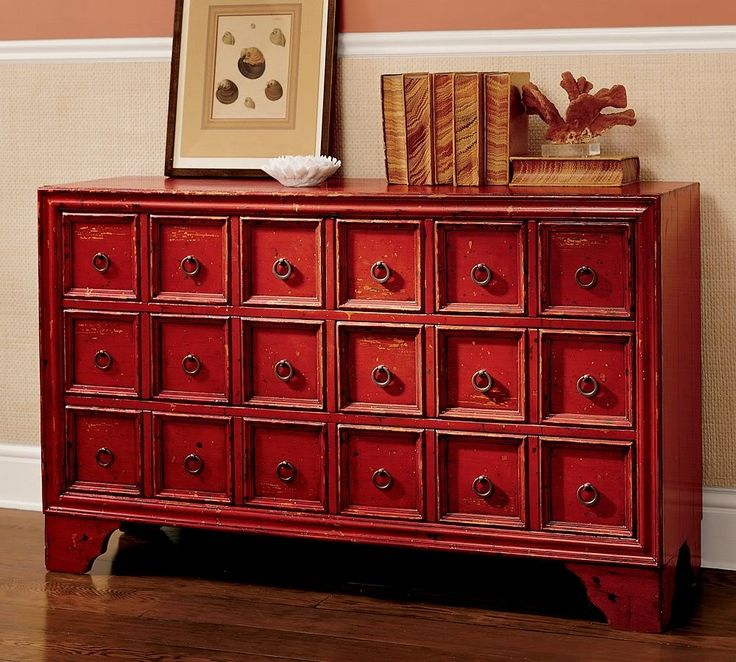 Red Console Table With Drawers