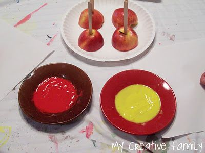 Apple painting is a great fall activity for toddlers!  I like the idea of making a set of family placemats.