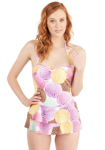 Wade a Second Swim Dress - Multi, Pink, Novelty Print, Kawaii, Pastel, Food, Exclusives, Swim Dress, Underwire, Ruffles