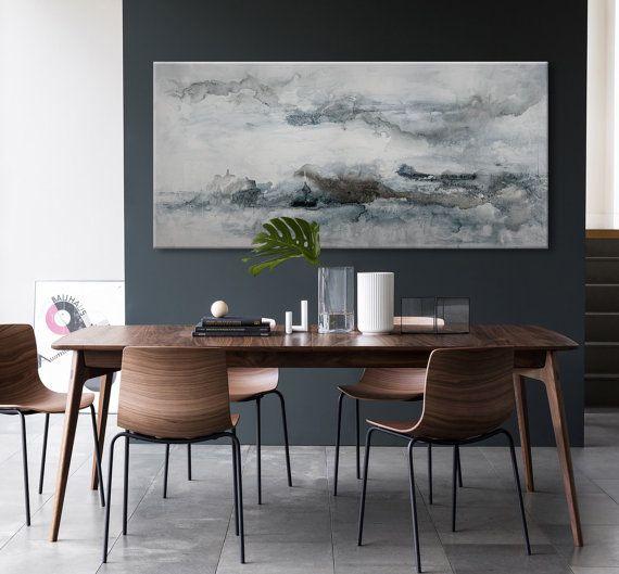 grand abstrait peinture de paysage gris bleu par ElenasArtStudio