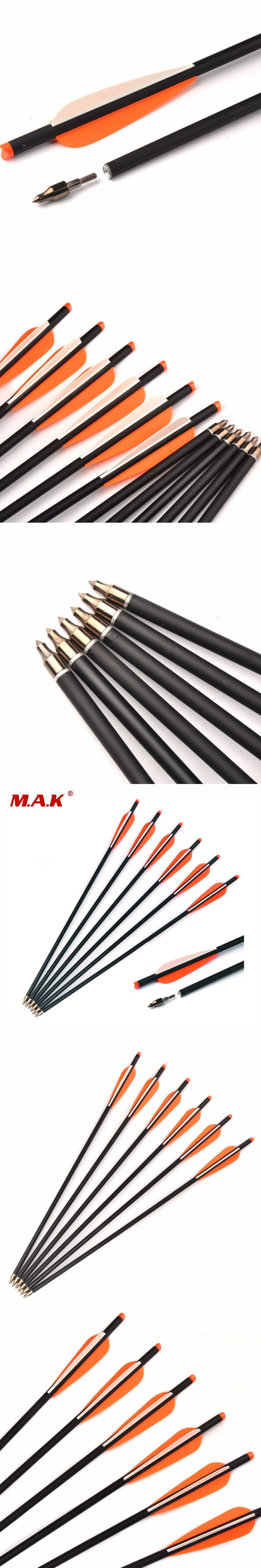 6/12/24 pcs Mixed Carbon Crossbow Arrow Length 20 Inch Diameter 8.8 mm Spine 300 Changeable Arrowheads for Archery Hunting