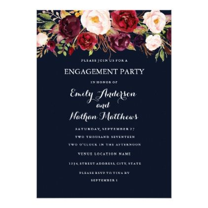 Burgundy Navy Floral Fall Engagement Party Card - engagement gifts ideas diy special unique personalize