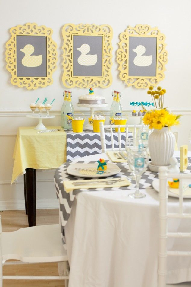 Chevron duck baby shower in yellow and grey that 39 s just ducky diy party ideas pinterest - Baby shower chevron decorations ...
