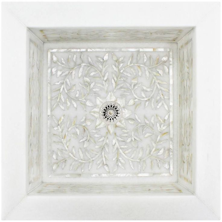 Linkasink Bathroom Sinks – Square White Marble Mother of Pearl Inlay – MI05 Floral Drop-In Bath Sink