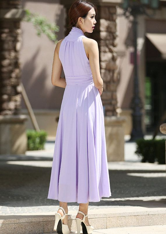 Maxi dress women purple chiffon dress prom dress by xiaolizi
