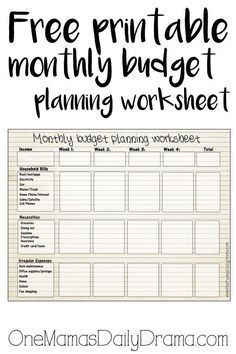 Free printable monthly budget planning worksheet | This is the perfect place for beginners to start tracking income and expenses. Tell your money where to go instead of wondering where it went!