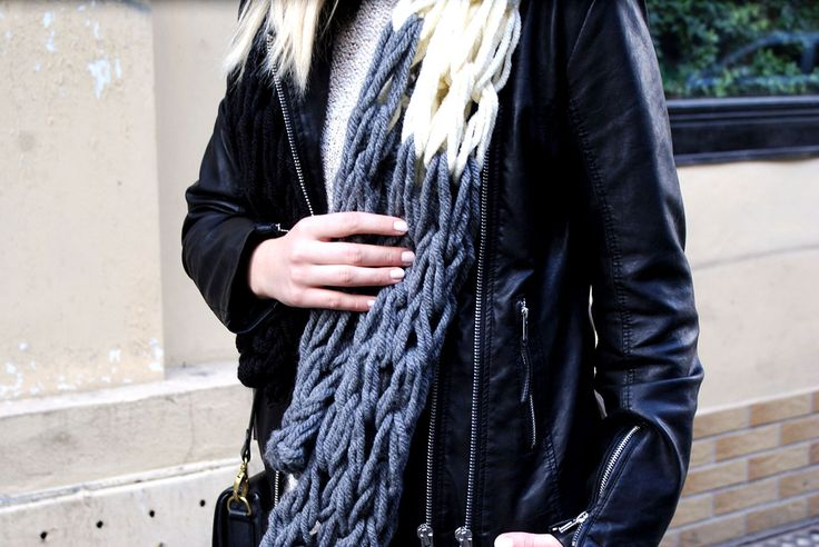Arm knitting scarf | Hunting For Style - blog o szyciu, modzie i DIY