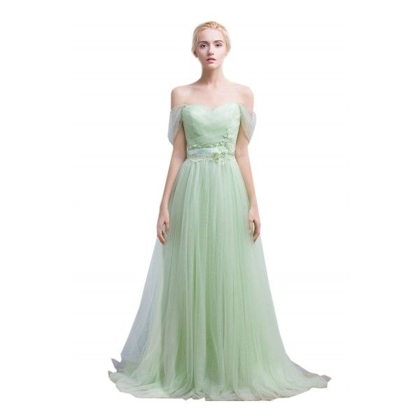 Women's Off Shoulder Backless Evening Ball Gown Bridesmaid Dress ($99) ❤ liked on Polyvore featuring dresses, gowns, light green, white bridesmaid dresses, white gown, floral print bridesmaid dresses, white dress and bridesmaid dresses