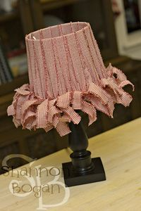 Material Lamp Shades: fabric strips tied to lamp shade frame..cute!,Lighting