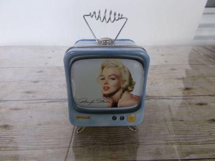 Marilyn Monroe Vandor Collectible Tin Blue Television Antenna Piggy Bank 3X3X4 #Vandor