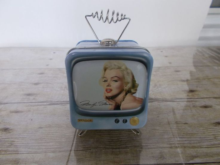 Marilyn Monroe Vandor Collectible Tin Blue Television Antenna Piggy Bank 3X3X4 #Vandor