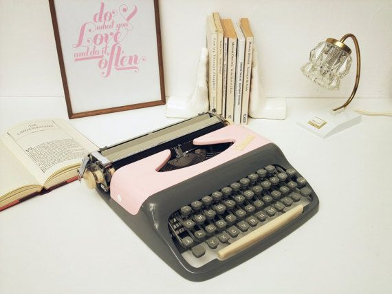 Pink Typewriter CONSUL Fully Working Vintage grey by ModernLifeArt