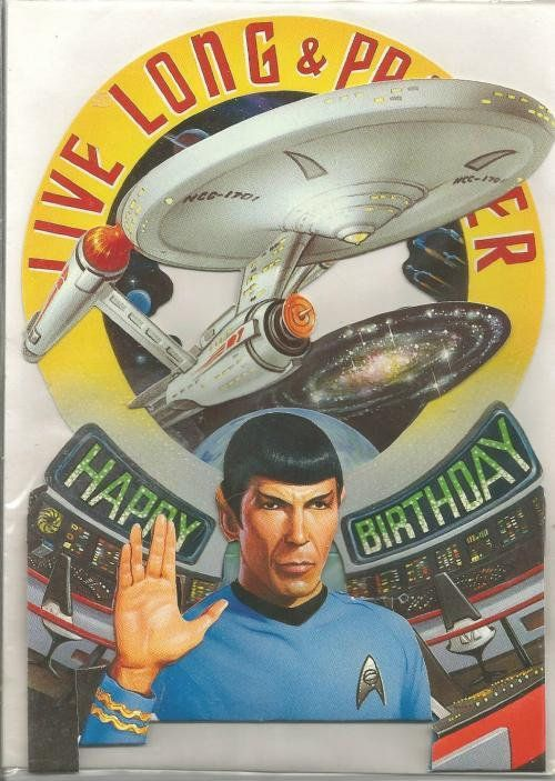 1990s Spock Star Trek Birthday Card Unused Stand Up Card Live Long