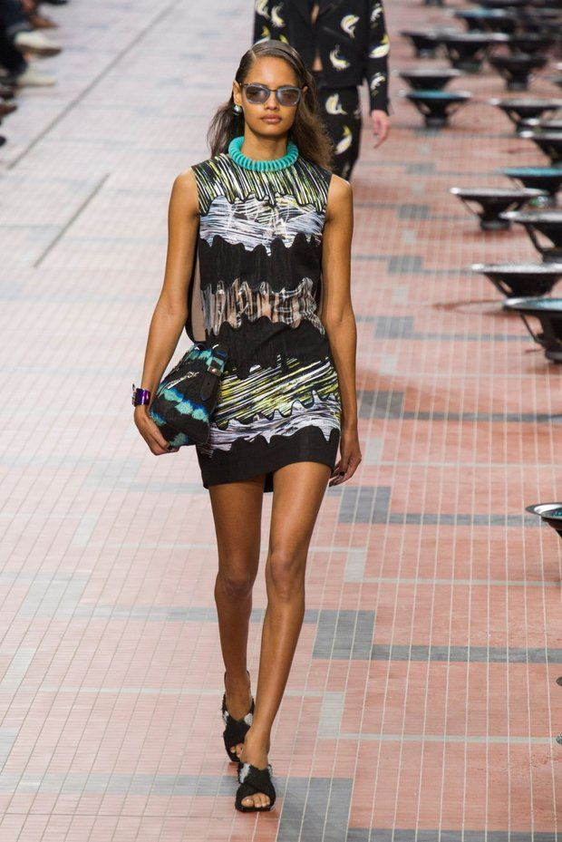 Wiggled print in cool colours mixed with black. Short dress Kenzo s/s 2014
